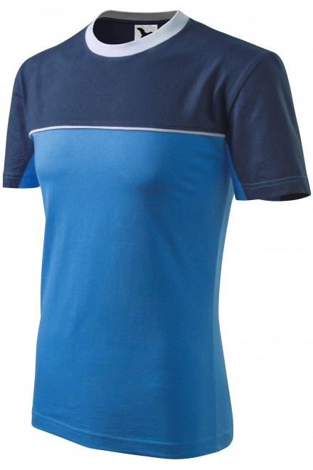 T-shirt with two colors Azure blue