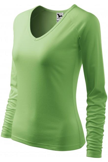 Ladies close fitting T-shirt, V-neckline Navy blue