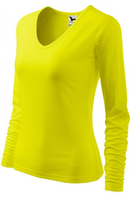 Ladies close fitting T-shirt, V-neckline Lemon