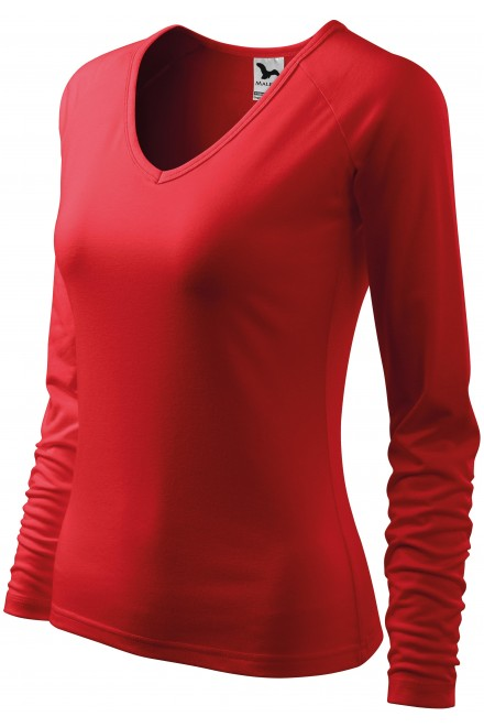 Ladies close fitting T-shirt, V-neckline Red