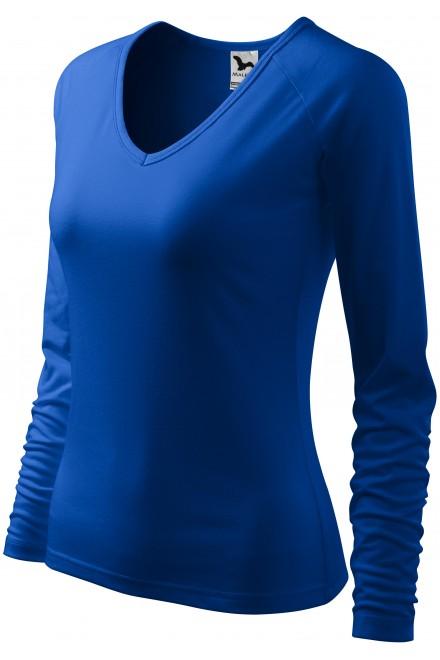 Ladies close fitting T-shirt, V-neckline Royal blue