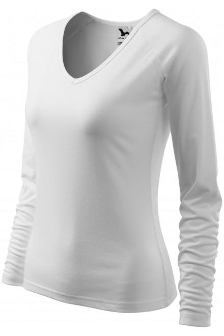 Ladies close fitting T-shirt, V-neckline White