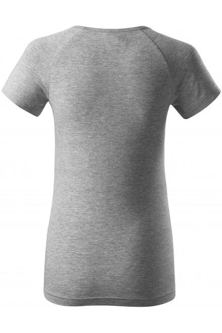 Dark gray melange ladies T-shirt with raglan sleeve