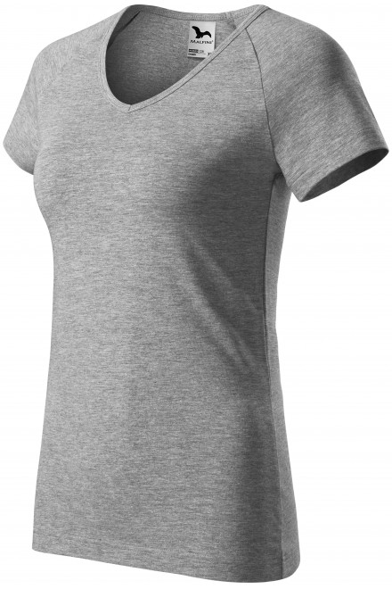 Ladies T-shirt with raglan sleeve Dark gray melange