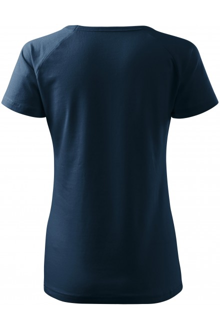 Navy blue ladies T-shirt with raglan sleeve