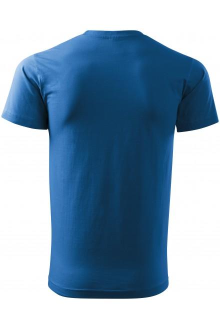 Azure blue men's simple T-shirt