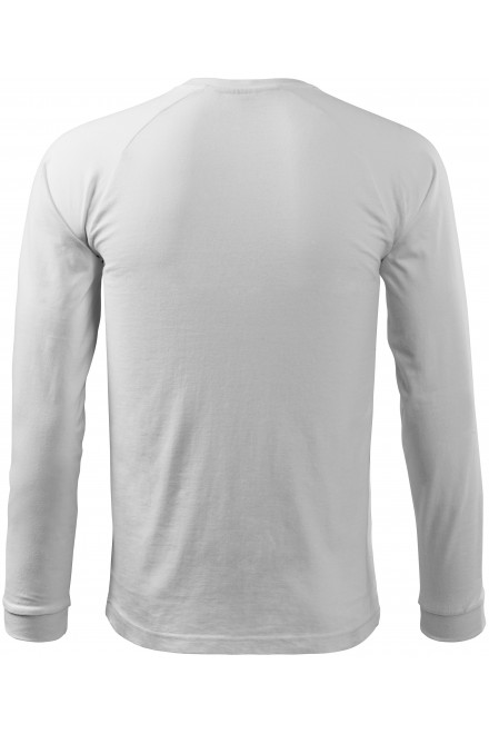 White men's contrast T-shirt with long sleeves