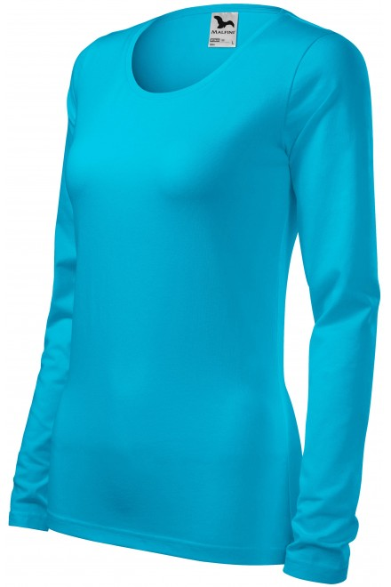 Ladies close fitting T-shirt with long sleeves Bblue atol