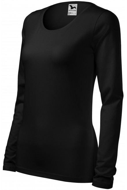 Ladies close fitting T-shirt with long sleeves Black