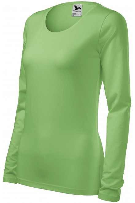 Ladies close fitting T-shirt with long sleeves Grass green