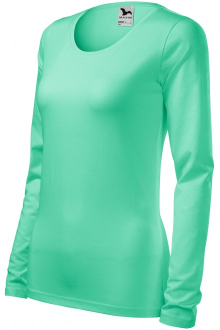 Ladies close fitting T-shirt with long sleeves White