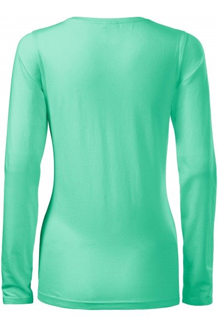 Mint ladies close fitting T-shirt with long sleeves