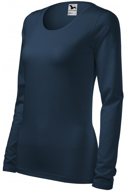 Ladies close fitting T-shirt with long sleeves Navy blue