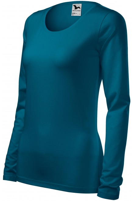 Petrol blue ladies close fitting T-shirt with long sleeves