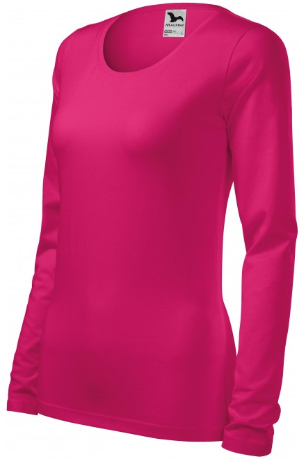 Ladies close fitting T-shirt with long sleeves Raspberry pink