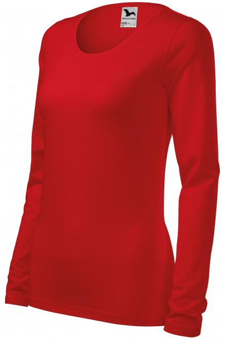 Ladies close fitting T-shirt with long sleeves Red