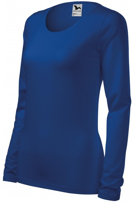 Ladies close fitting T-shirt with long sleeves Royal blue