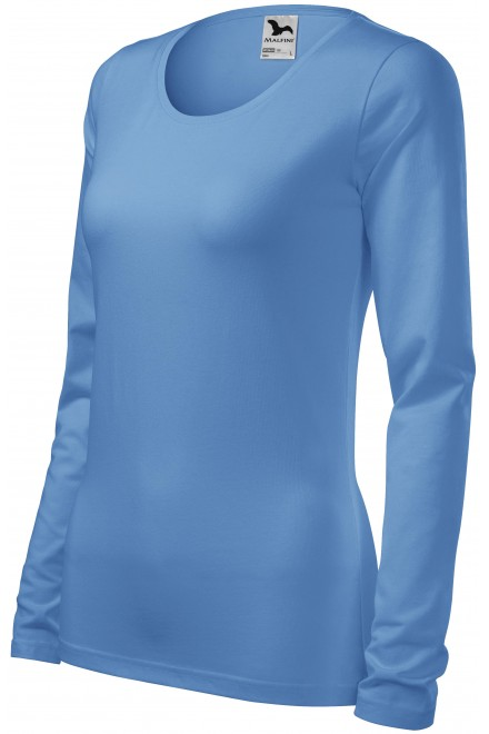 Ladies close fitting T-shirt with long sleeves Sky blue