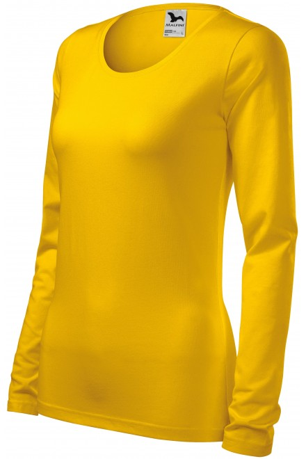 Ladies close fitting T-shirt with long sleeves Yellow
