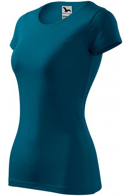 Ladies slim-fit T-shirt Petrol blue