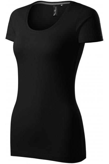 Ladies T-shirt with decorative stitching Black
