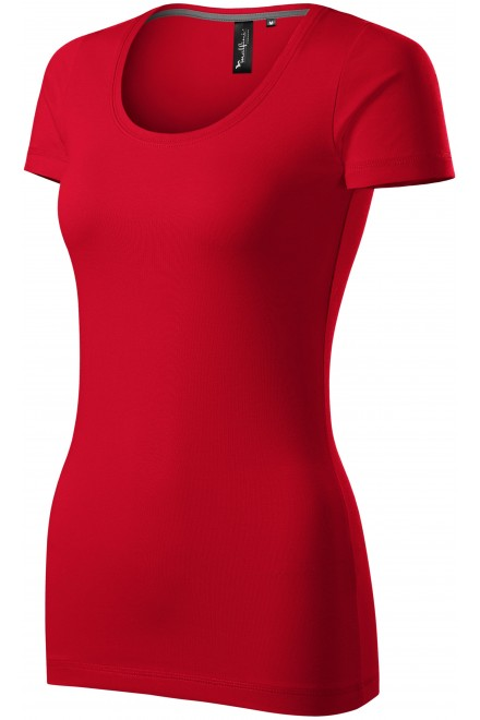 Ladies T-shirt with decorative stitching Formula red