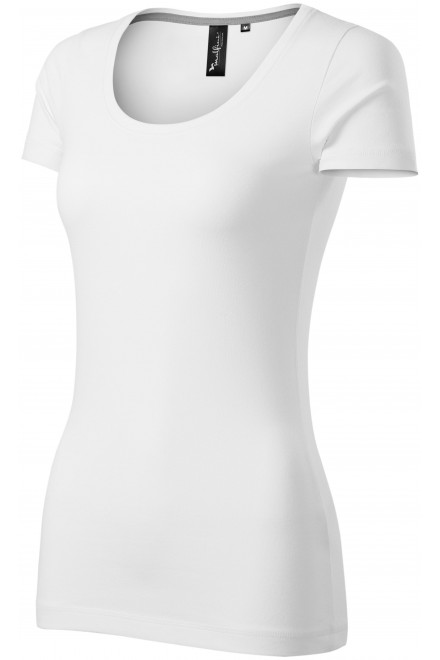 Ladies T-shirt with decorative stitching White