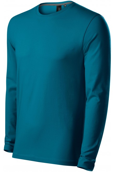 Close fitting men's t-shirt with long sleeves Petrol blue