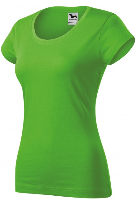 Ladies slim fit T-shirt with a rounded neckline Apple green