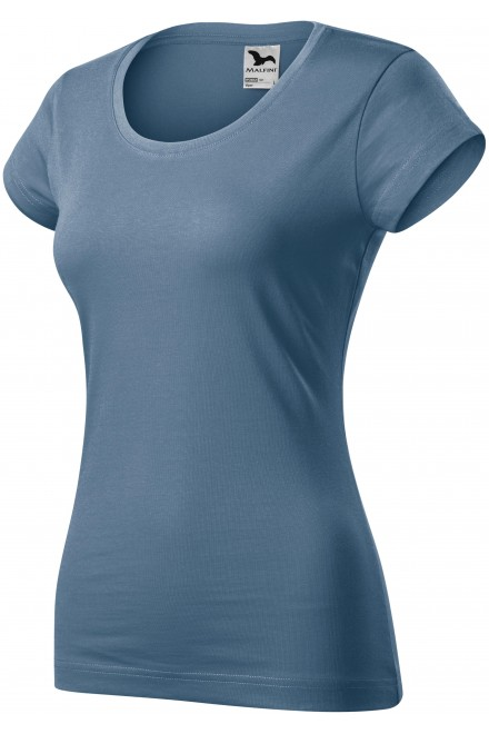 Ladies slim fit T-shirt with a rounded neckline Denim