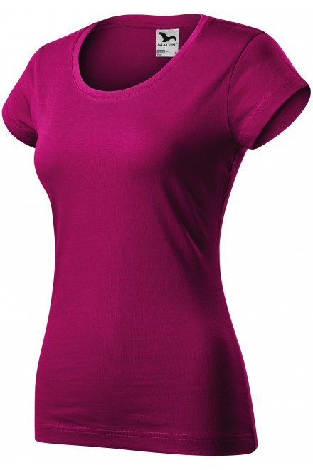 Ladies slim fit T-shirt with a rounded neckline Fuchsia red