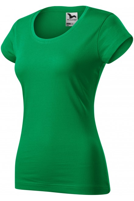 Ladies slim fit T-shirt with a rounded neckline White