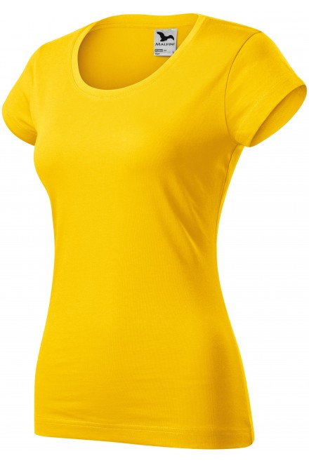 Ladies slim fit T-shirt with a rounded neckline Yellow