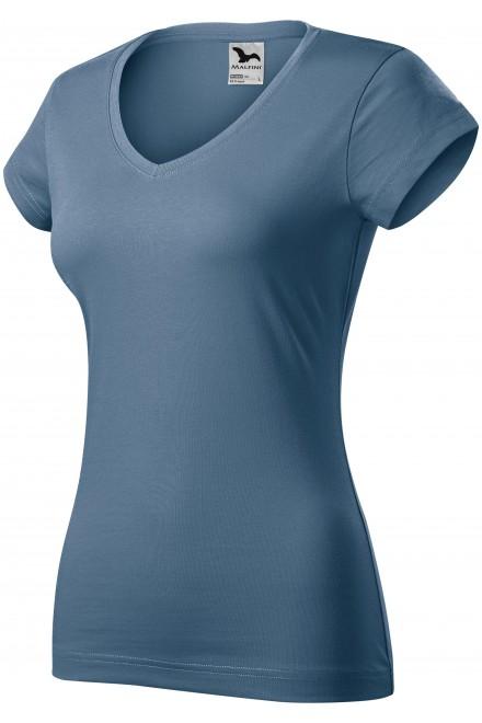 Ladies slim fit T-shirt with V-neckline Denim