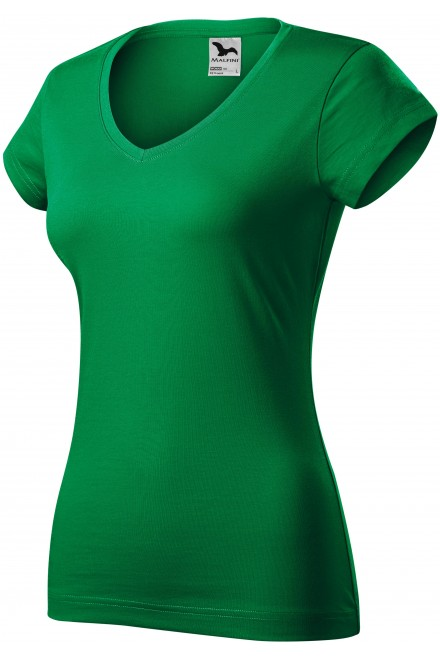 Ladies slim fit T-shirt with V-neckline Kelly green