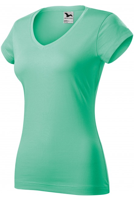 Ladies slim fit T-shirt with V-neckline White