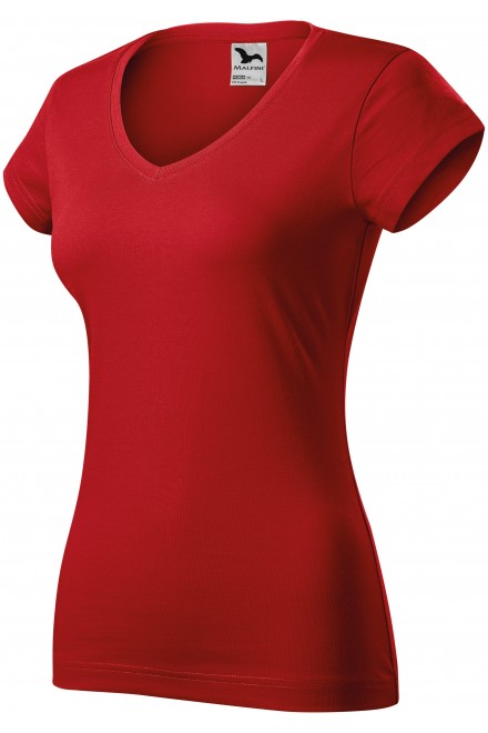 Ladies slim fit T-shirt with V-neckline Red