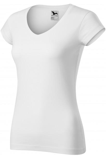 Ladies slim fit T-shirt with V-neckline White