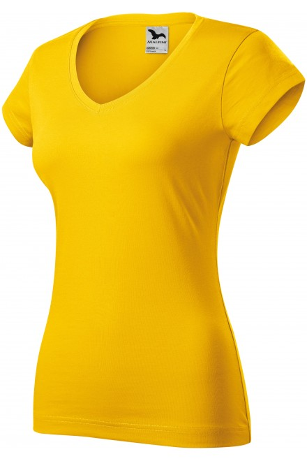 Ladies slim fit T-shirt with V-neckline Yellow