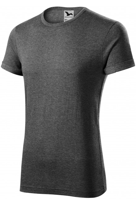 Men's T-shirt with rolled sleeves Black melange