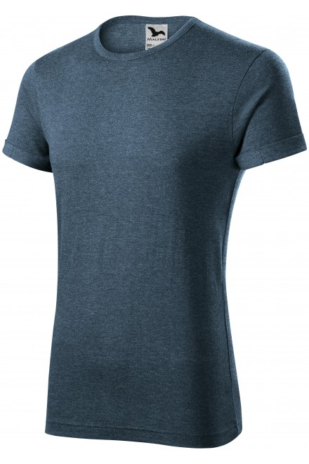 Men's T-shirt with rolled sleeves Dark denim  melange