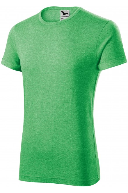 Men's T-shirt with rolled sleeves Green melange