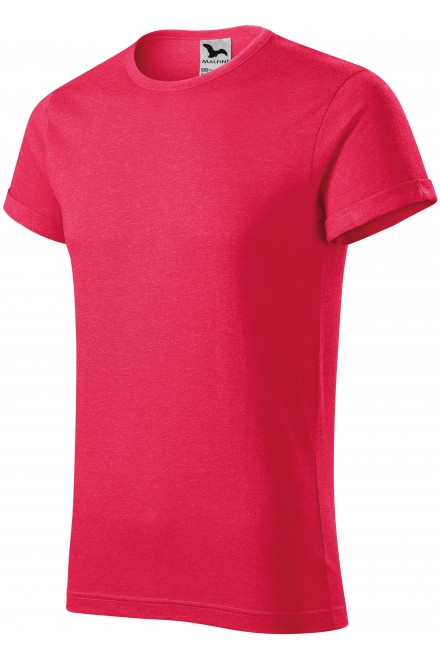 Men's T-shirt with rolled sleeves Red melange