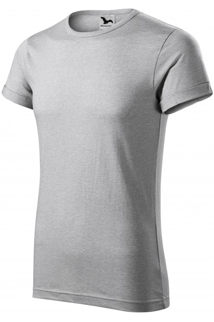 Men's T-shirt with rolled sleeves Silver melange