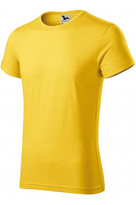 Men's T-shirt with rolled sleeves Yellow melange