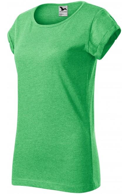 Ladies T-shirt with rolled sleeves Black melange