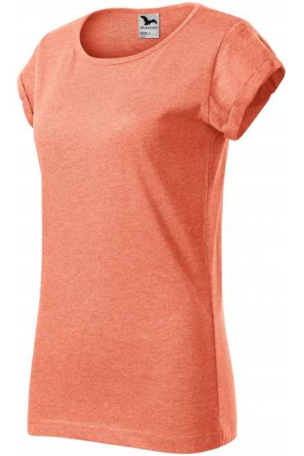 Ladies T-shirt with rolled sleeves Sunset melange