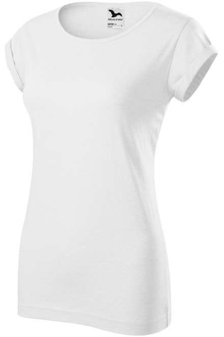 Ladies T-shirt with rolled sleeves White