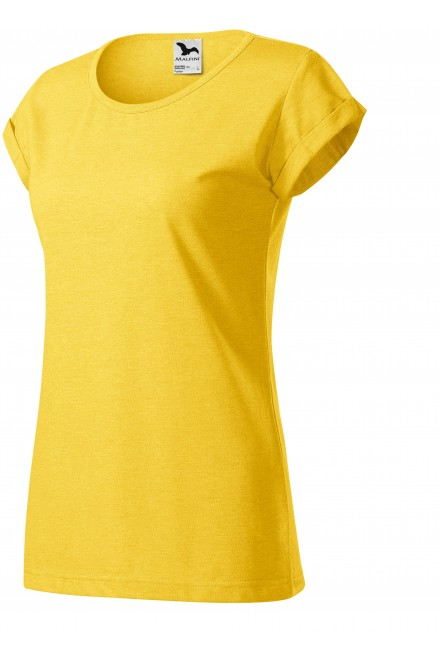 Ladies T-shirt with rolled sleeves Yellow melange