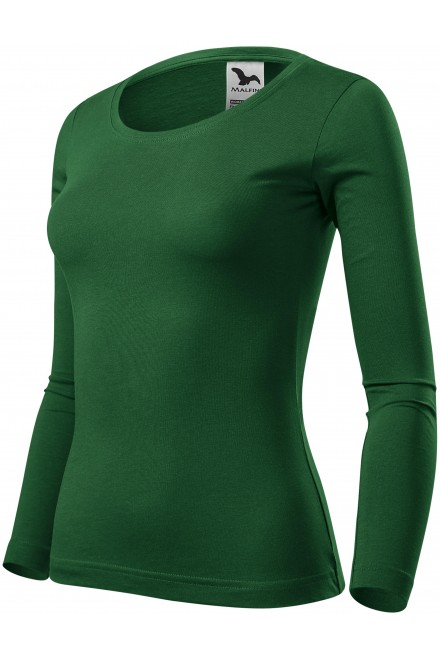 Women's T-shirt with long sleeves Bottle green